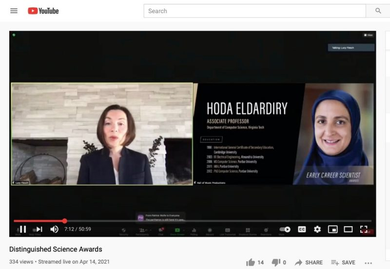Hoda Eldardiry was honored during a Distinguished Science Awards virtual event hosted by the Purdue University College of Science on April 14.