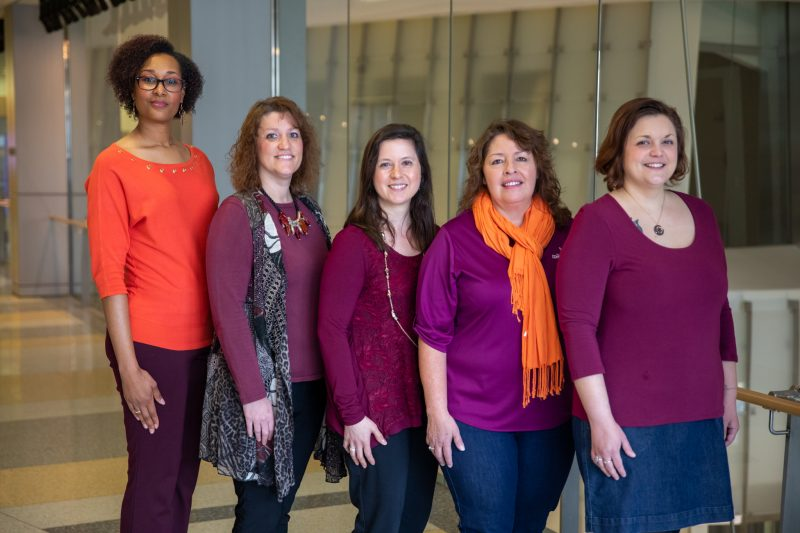 Department of Computer Science academic advising team, from left, Tonisha Montgomery, Leigh Anne Byrd, Jennifer Bradley, Ruth Labbe Hale, and Ryan Underwood.